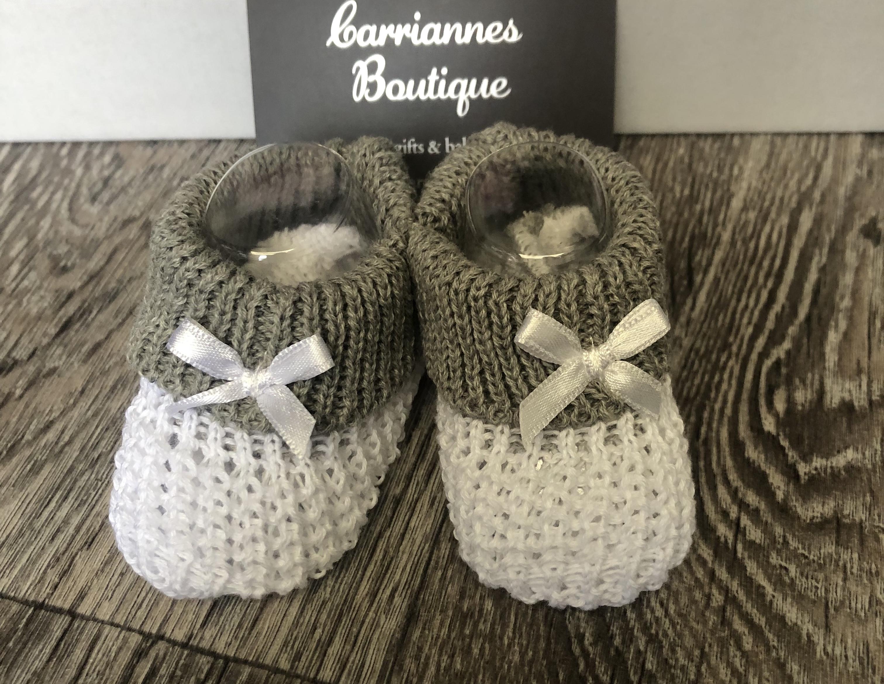 White / Grey Baby Booties. Newborn-3